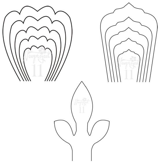 Pdf set of 2 flower templates and 1 leaf template giant for Free printable paper flower templates