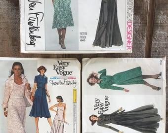 3 Vogue 1663 / 1611 / 1730 Diane Von Furstenberg American Designer Original Dress Pattern Set  // 1970's // Uncut Dress Patterns
