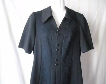 Vintage Black Midi Dress,Trevira 2000 Short Sleeve Dress,Summer Black Dress 70s,Embroidered Details Decorative Buttons Front Vintage Dress