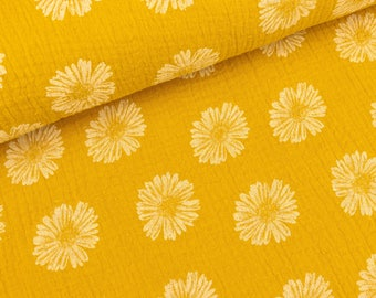 Cotton muslin double gauze flowers white mustard yellow (11,90 EUR / meter)
