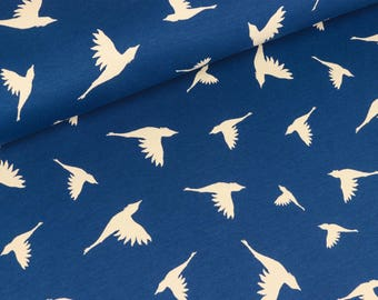 Cotton Jersey/interlock Kenny birds to marine (11,90 EUR / meter)