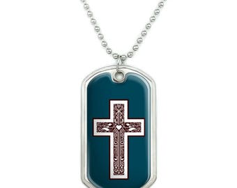 Cross with Heart Christianity Military Dog Tag Pendant Necklace with Chain