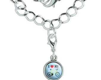 I Love My Bike Road Bicycle Cycling Silver Plated Bracelet with Antiqued Charm