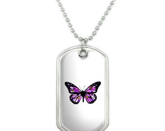 Butterfly with Flowers Military Dog Tag Pendant Necklace with Chain