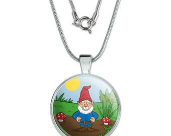 "Garden Gnome with Toadstools 1"" Pendant with Sterling Silver Plated Chain"