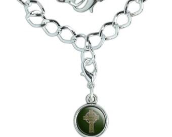 Celtic Christian Cross Irish Ireland Silver Plated Bracelet with Antiqued Charm