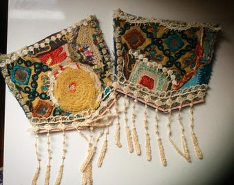 Embellishment Upcycled Vintage Linens Indian Embroidery Patchwork Jean Pockets