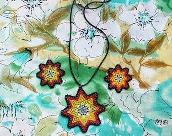 Morning Star, huichol, pendant, earrings, bead jewelry, handmade