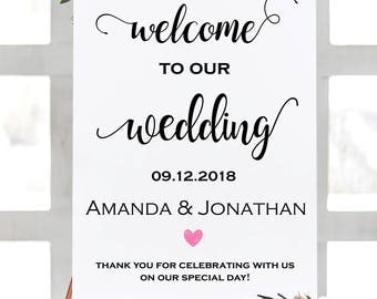 Welcome Wedding Sign - Welcome To Our Wedding Sign - Wedding Poster Board - Moder Script Wedding - Downloadable wedding #WDH65BWS