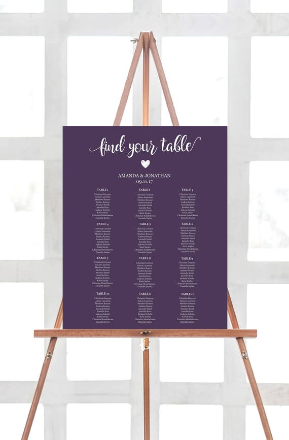 Plum Seating Chart Table Alphabetical