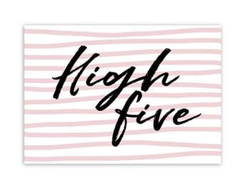 Card, high five, incentive cards, typography, decoration, post, stationary, A6
