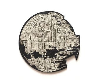 "Death Star Iron on Embroidered patch (4.0"")"