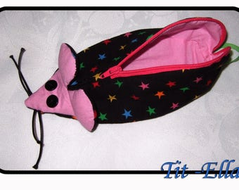 Pocket black little mouse with stars