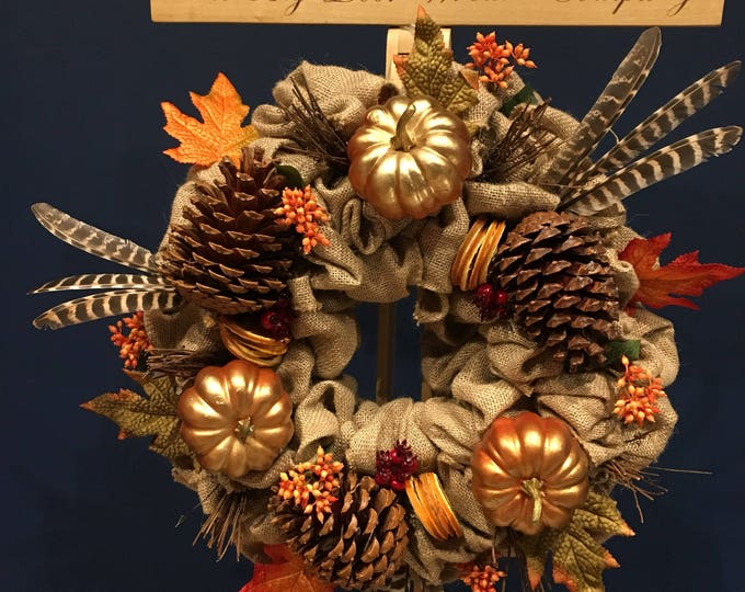 Beautiful hessian autumnal wreath