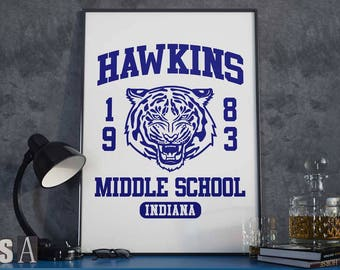 Hawkins Middle School - Poster Art Print - Indiana, 1983, Eleven, Logo, Tiger, Face, Mascot
