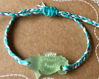 Sea glass jewelry, sea horse, beach jewelry, stacking bracelet, gifts for her, gifts under 25, gifts for teens, adjustable bracelet