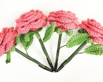 Crocheted Rose Flower Pen