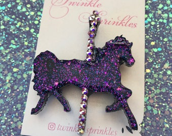 Magical carousel brooch with Swarovski crystals