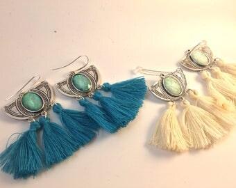 Opal Earrings / Tassel Earrings / Boho Earrings / Dangle Earrings / Bohemian Jewelry / Statement Jewelry / Statement Earrings /