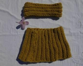 collar snood and mustard headband