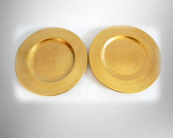 pair of pickard gold dinner plates marked