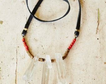 quartz crystal and black leather necklace with red seed beads and gold spacer beads