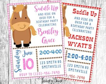 Cowboy Birthday Invitation, Horse Party Invitation, Horse Invitation, Cowgirl Birthday Party Invitation, Saddle Up Birthday Invitation