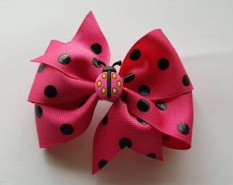 Lady bug fuchsia polkadot bow clip