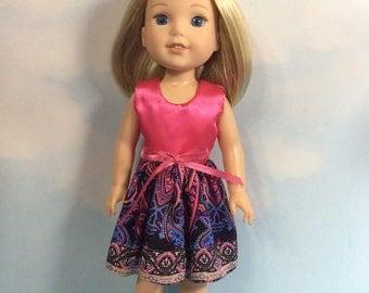 "Sun dress fits 14.5"" Wellie Wishers doll"