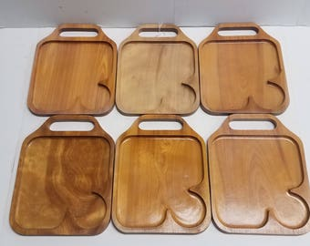Set of 6 Sandwich, TV, Snack Trays, Green Mountain Woodcrafters, Wood, Mid Century, picnic, camping Wooden, Antique, Vintage, Hand Crafted