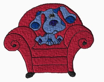5x7 Embroidery File: Blues Clues, Blue and the Thinking Chair, Choose Your Size and Format