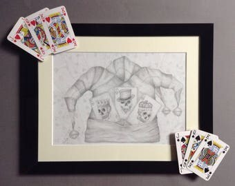 Original Joker/Jesters hat with Ace, King & Queen playing cards with skull.