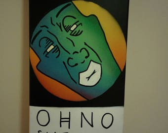 Ohno skateboard. Hand painted unique graphic