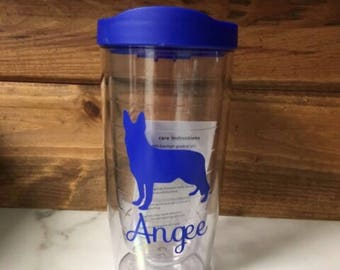 Personalized Dog Breed Tervis Style Tumbler, BPA Free Acrylic Tumbler, Personalized Dog Breed Tumbler, German Shepherd Tumbler With Name