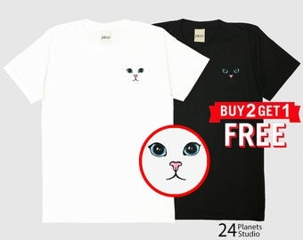 Cute Cat Embroidered T-Shirt by 24PlanetsStudio