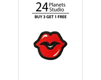 Mini Red Lips Red Kiss Iron on Patch by 24PlanetsStudio
