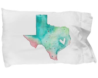 Texas Pillowcase Lone Star State Native Texan Watercolor Bedding Bedroom Decoration College Dorm