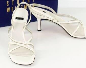 Stuart Weitzman Sandals No. 40-Medium heel-white-lacing on the back-