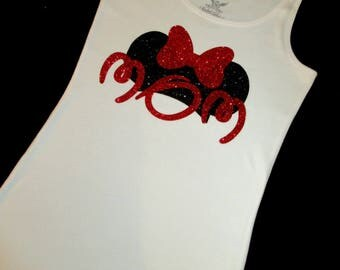 Women's Glitter Minnie Mouse White Vinyl Tank-Minnie Mouse-Disney-Disney World