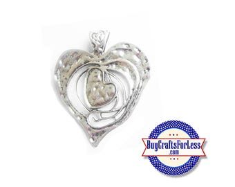 HEART Pendant, Hand Hammered, Lg - VERY Nice +FREE SHiPPing & Discounts*
