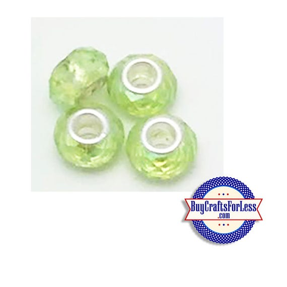 Acrylic BEADs, LT GREEN, Multi-Faceted, Choose 8 or 25 pcs  +FREE Shipping & Discounts*