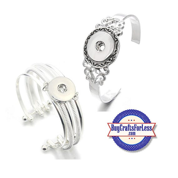 SNAP Button CUFF Bracelets, for Changeable 18mm Snap Buttons, 2 styles  +FREE Shipping & Discounts
