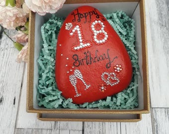 18th birthday gifts for her- 18th celebration birthday pebble- 18th birthday keepsake- 18th birthday gifts-gifts for women.