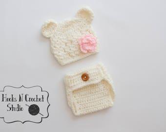Newborn bear outfit, newborn bear hat, newborn bear beanie, newborn crochet outfit, newborn girl crochet outfit, newborn girl outfit