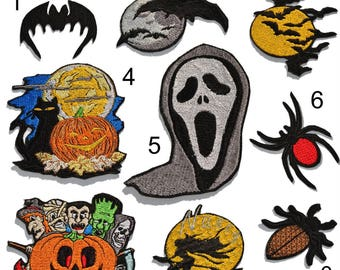 Halloween patches,  Beetle patch, Pumpkin patch, Bat patch, Spider patch, Witch patch, Mask patch, Halloween embroidery