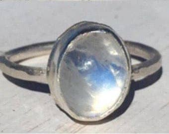 Rainbow moonstone ring, size 6 1/2