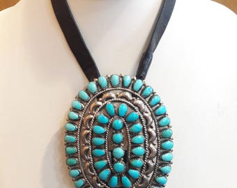 Vintage Native American Zuni Handmade Sterling Silver Turquoise Cluster Bolo Tie