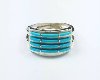 Native American Zuni handmade Sterling Silver Sleeping Beauty Turquoise ring