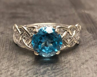 2 cts Blue AAAA Sapphire Round  8 mm  Ring with 24 Natural Diamond Accent Stones 14K White Gold