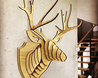"""Wall trophy """"Deer antler"""" made of wood"""